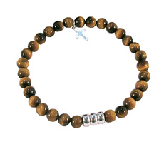 Image for Boys or Girls Tiger eye and silver wristband