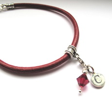 Image for Leather and Silver Initial Wristband with crystal
