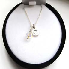 Image for Sterling silver initial necklace with crystal charm