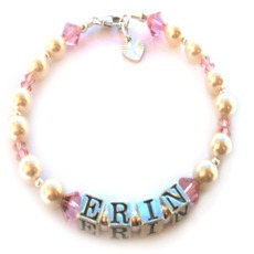 Image for Girls Personalised Name Christening Bracelet -  Pearl and Pink Crystal - Erin Deisgn