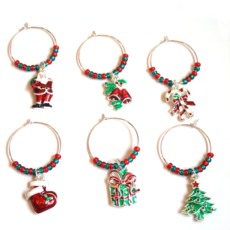 Image for Christmas Wine Glass Charm Rings
