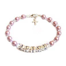 Personalised Pearl and Crystal Baby or Christening Bracelet - ALICE