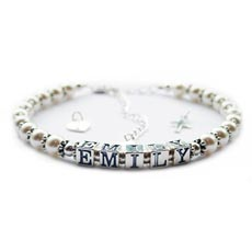 Image for Personalised Pearl Baby or Christening Bracelet - EMILY