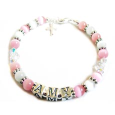 Image for Christening Personalised Bracelet with Swarovski Flower Crystals -Amy Design