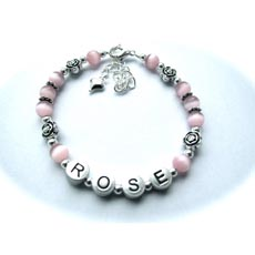 Personalised Name Bracelet - Rose Design