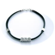 Inital Leather and Silver Wristband