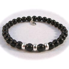 Image for Boys or Girls Christening Communion Black Agate and Silver Wristband