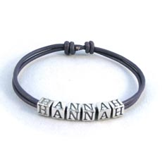 Image for Hannah silver and leather wristband