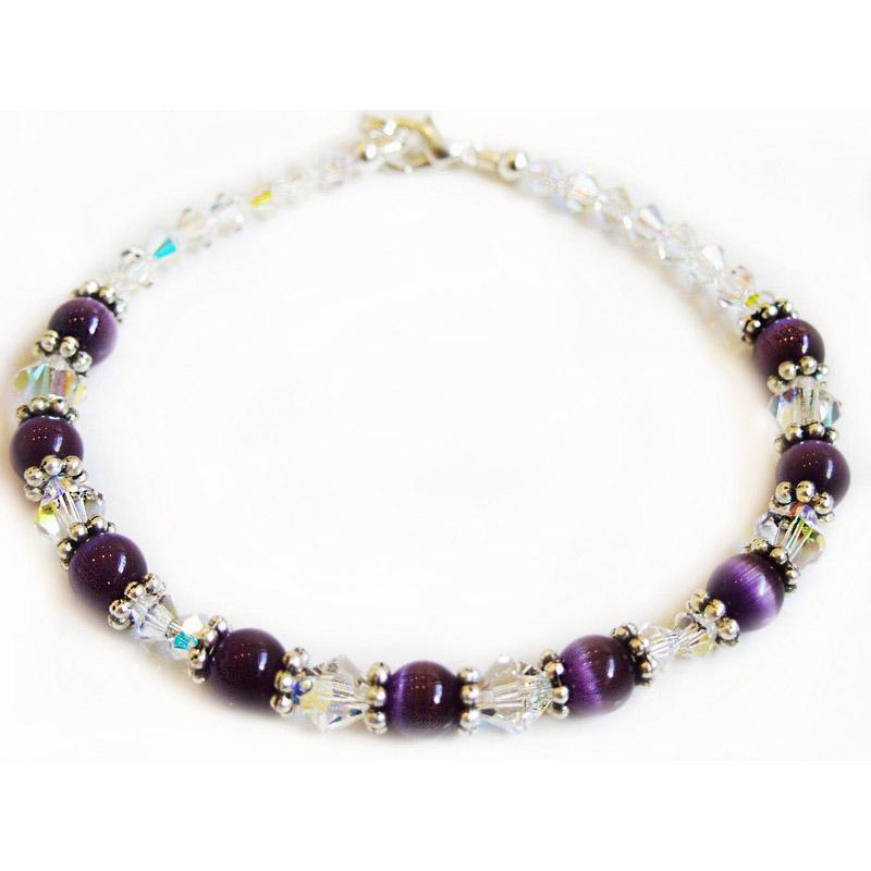swarovski and cat eye bead bracelet