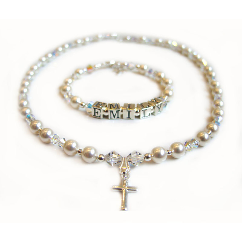 christening cross necklace and name bracelet and